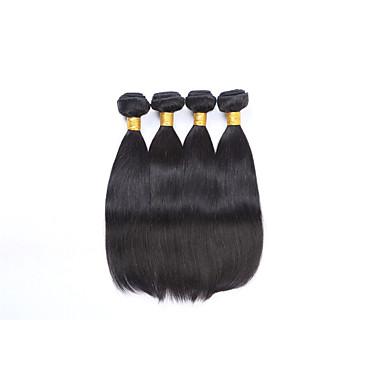 baratos Extensões de Cabelo Natural-4 pacotes Cabelo Brasileiro Liso 8A Cabelo Humano Cabelo Humano Ondulado Tramas de cabelo humano Extensões de cabelo humano / Reto