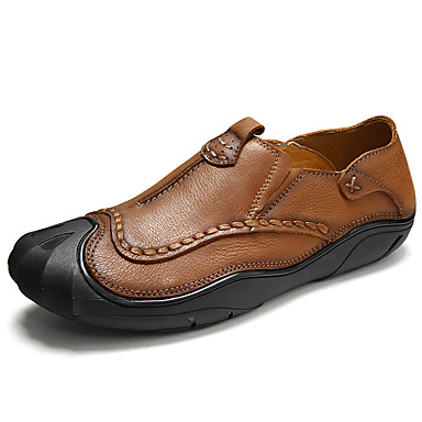 Men's Shoes Real Leather Cowhide Winter Fall Comfort Light Soles Loafers & Slip-Ons For Wedding Casual Party & Evening Outdoor Office &