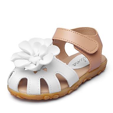 Jente sko Kunstlær Sommer Høst Sko til blomsterpiker Komfort Sandaler Appliqué Magisk teip til Bryllup utendørs Fest/aften Formell Hvit