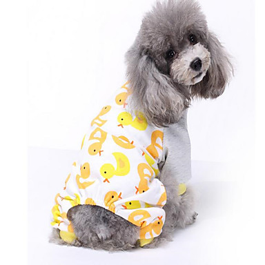 Dog Pajamas Dog Clothes Breathable Casual/Daily Cartoon Yellow Blue Costume For Pets