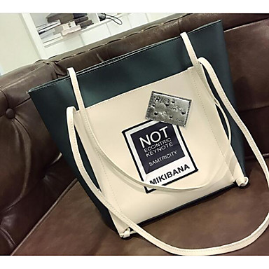 Women Shoulder Bag PU All Seasons Casual Outdoor Round Zipper White Black Gray