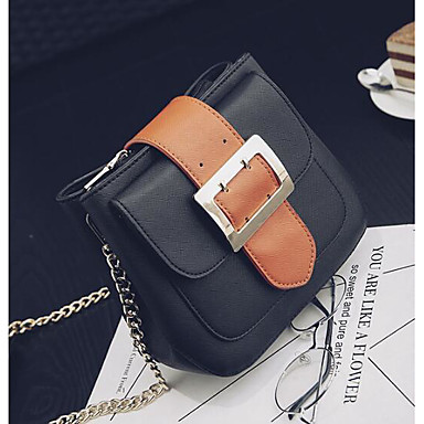 Women Shoulder Bag PU All Seasons Casual Outdoor Square Zipper Black Brown