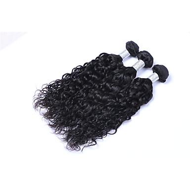Hot Selling 3 Pcs 300g Brazilian Virgin Human Hair Wefts 100% Unprocessed Natural Black Hair 130% Density Natural Wave Human Hair Weaves/Extensions