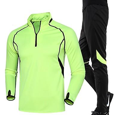 Herre Dame Joggedress Løp Klessett til Løper Trening & Fitness Løstsittende Grønn Svart/Grønn Rød+Svart