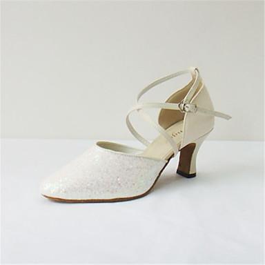 Mulheres Sapatos de Dança Moderna Couro Sandália Cruzado Salto Cubano Personalizável Sapatos de Dança Bege / Espetáculo