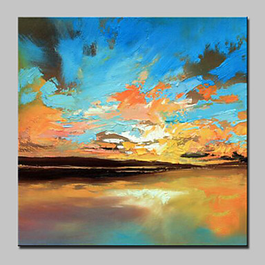 Oil Painting Hand Painted - Abstract Landscape Abstract Modern / Contemporary Canvas
