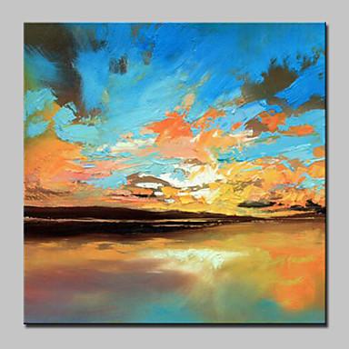 Hang festett olajfestmény Kézzel festett - Absztrakt tájkép Absztrakt Modern / kortárs Vászon