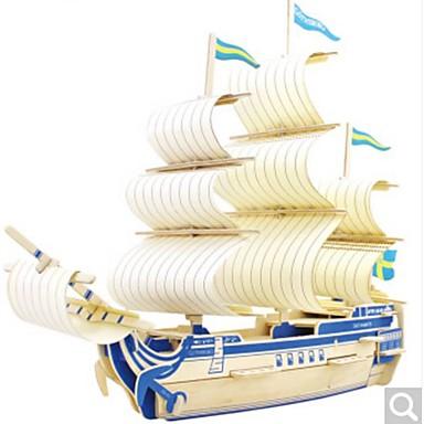 voordelige 3D-puzzels-3D-puzzels Legpuzzel Houten modellen Oorlogsschip Schip DHZ Puinen Natuurlijk Hout Kinderen Unisex Speeltjes Geschenk