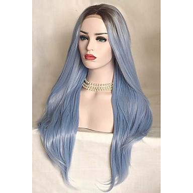 Synthetic Lace Front Wig Women's Straight Blue Synthetic Hair Ombre Hair Blue Wig Medium Length Lace Front Sky Blue Uniwigs