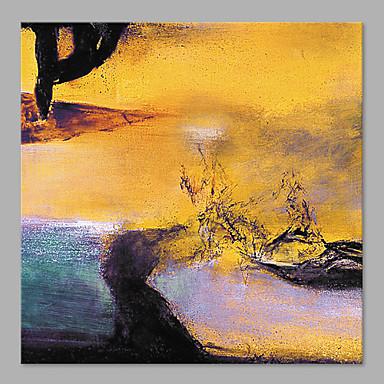 Pintados à mão Abstrato Quadrada, Estilo Praia Tela de pintura Pintura a Óleo Decoração para casa 1 Painel