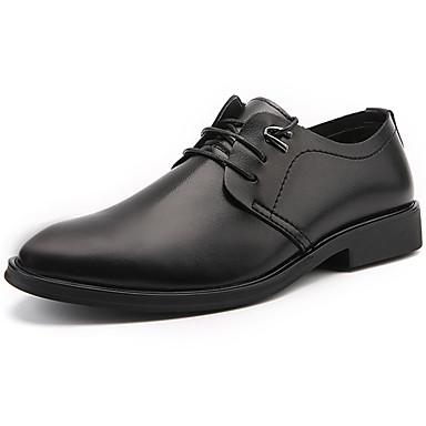 Homens sapatos Couro Ecológico Primavera Outono Conforto Oxfords para Ao ar livre Preto