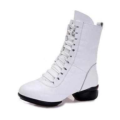 Mulheres Sapatilhas de Balé Couro Sandália / Têni Salto Baixo Personalizável Sapatos de Dança Branco / Preto / Vermelho