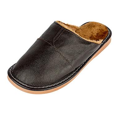 Miehet kengät Nahka Talvi Syksy Comfort Tossut & varvastossut Split Joint varten Kausaliteetti Musta Kahvi