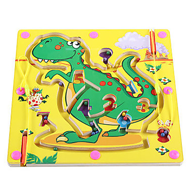 Chess Game Maze & Sequential Puzzles Maze Magnetic Maze Toys Magnetic Flat Shape Dinosaur Wood Iron Cartoon 1 Pieces Kids Christmas