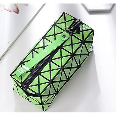Women Cosmetic Bag PU All Seasons Rectangle Zipper Blue Black-white Arm Green