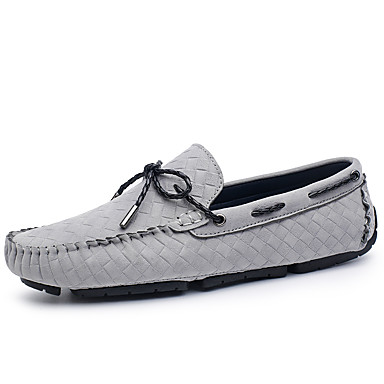 Unisex Shoes Suede Summer / Fall Moccasin Boat Shoes Flat Heel Black / Gray / Khaki / Party & Evening