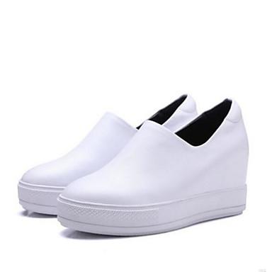 Dame Sko PU Sommer Komfort 一脚蹬鞋、懒人鞋 til Avslappet Hvit Svart