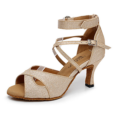 Women's Latin Shoes Sparkling Glitter Heel Buckle Customizable Dance Shoes Gold / Black / Silver / Indoor / Leather