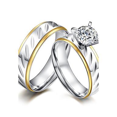 Casal Anéis de Casal Zircônia cúbica Estilo simples Elegant Zircônia Cubica Aço Titânio Redonda Jóias Casamento Aniversário Festa