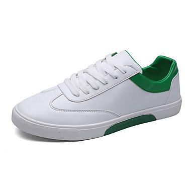 Homens sapatos Couro Ecológico Primavera Outono Solados com Luzes Conforto Tênis Cadarço para Casual Branco Branco/Preto Branco e Verde