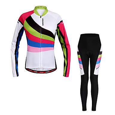 WOSAWE Women's Long Sleeves Cycling Jersey with Tights - Rainbow Bike Clothing Suits, Quick Dry, Reflective Strips