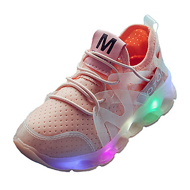 Boys' Shoes Spandex Tulle Summer Fall Light Up Shoes Comfort Athletic Shoes Running Shoes Gore for Athletic Outdoor White Black Pink