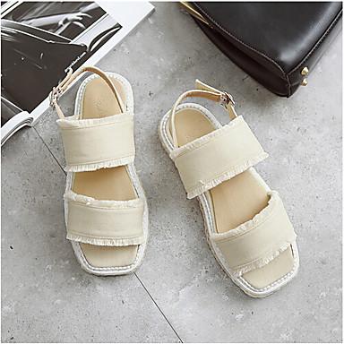Naiset Sandaalit Comfort PU Kevät Kausaliteetti Comfort Musta Manteli Tasapohja
