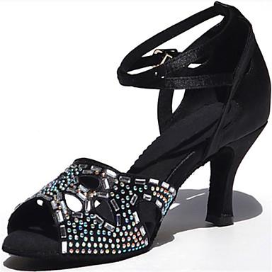 Mulheres Sapatos de Dança Latina Seda Sandália Cristal / Strass Salto Agulha Personalizável Sapatos de Dança Preto / Vermelho Escuro