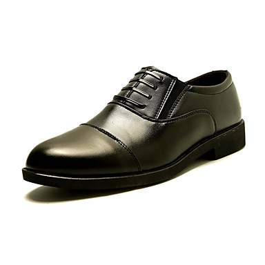 Men's Shoes Leather Summer Fall Comfort Oxfords Walking Shoes For Party & Evening Office & Career Black