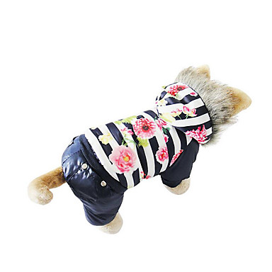 Dog Coat Puffer / Down Jacket Dog Clothes Warm Breathable Casual/Daily Floral/Botanical Coffee Red Blue Costume For Pets