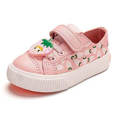 Girls' Flat First Walker Comfort Spring PU Casual Blushing Pink White/Yellow Flat