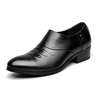 Men's Shoes Leather Spring Fall Formal Shoes Oxfords Pointed Toe For Office & Career Black