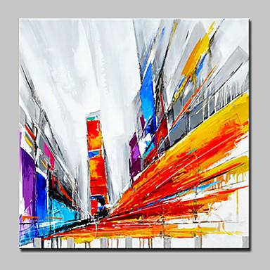Pintados à mão Abstrato Quadrada, Moderno/Contemporâneo Tela de pintura Pintura a Óleo Decoração para casa 1 Painel