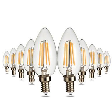 YWXLIGHT® 10pcs 4W 300-400lm E12 LED-lysestakepærer C35 4 LED perler COB Mulighet for demping Dekorativ Varm hvit 110-130V