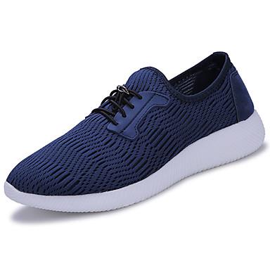 Homens sapatos Couro Ecológico Tule Primavera Outono Solados com Luzes Conforto Tênis Cadarço para Casual Ao ar livre Preto Cinzento Azul