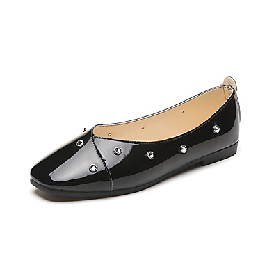 Naisten Kengät Kiiltonahka Kevät Syksy Comfort Tasapohjakengät Tasapohja Pyöreä kärkinen Tekohelmillä varten Kausaliteetti Juhlat Puku