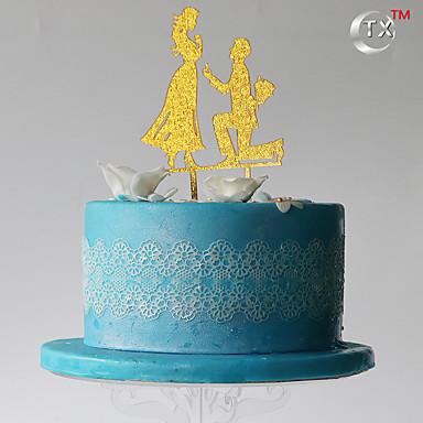 kake topper klassisk par plast med pvc bag bryllupet mottak