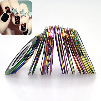32rolls/set Etiquetas e Fitas Com Gliter Acessórios & Instrumentos / Nail Art Design