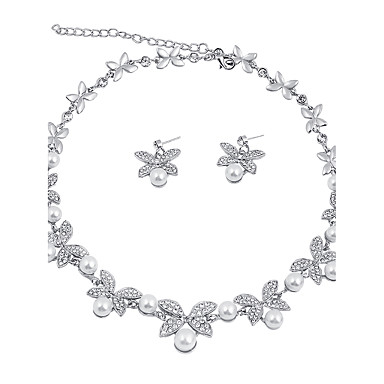Women's Jewelry Set Bridal Jewelry Sets Pearl Necklace Imitation Pearl Rhinestone Classic Fashion Euramerican Wedding Party Special