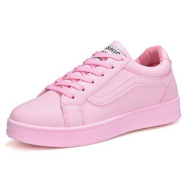 povoljno Ženske cipele-Žene Sneakers Ravna potpetica Okrugli Toe Vezanje Guma Udobne cipele Proljeće / Jesen Obala / Crn / Pink
