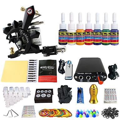 Tattoo Machine Startkit - 1 pcs tattoo maskiner med 7 x 5 ml tatovering blekk, Profesjonell Mini strømforsyning 1 x støpejern