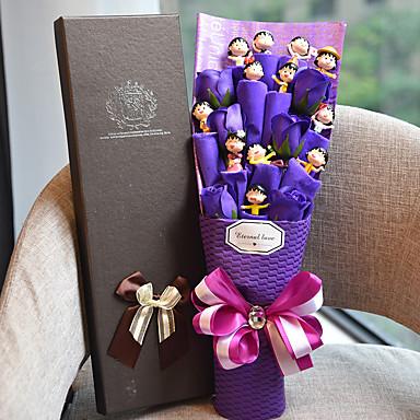 12 bonecas adoráveis com flores roxas aniversário de criança presente estilo elegante