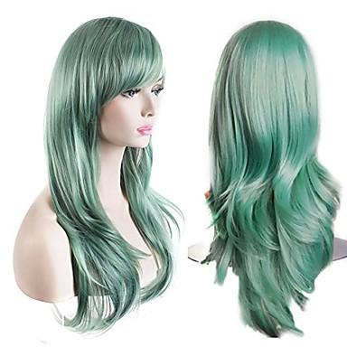 Cabelo Sintético perucas Ondulado Natural Sem Touca Peruca para Cosplay Longo Verde
