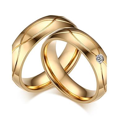 Casal Anéis de Casal - Zircônia Cubica Clássico, Estilo simples, Elegante 5 / 6 / 7 Dourado Para Casamento / Festa / Aniversário / Noivado