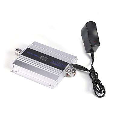 Mini 3g w-cdma mobiltelefon signal booster umts 2100mhz signal repeater forsterker med strømforsyning lcd display / sølv