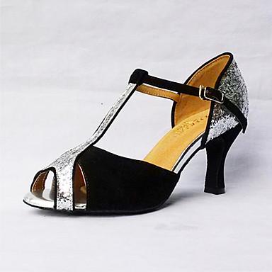 Mulheres Sapatos de Dança Latina Seda / Courino Sandália / Têni Presilha Salto Agulha Personalizável Sapatos de Dança Preto / Couro