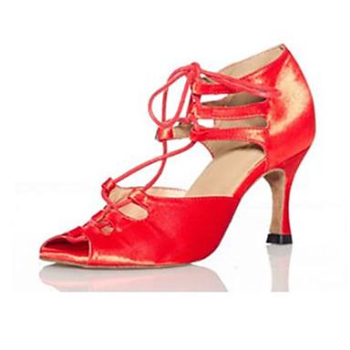 Mulheres Sapatos de Dança Latina Seda Sandália Cruzado Salto Agulha Personalizável Sapatos de Dança Preto-branco / Roxo / Vermelho