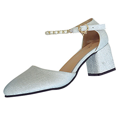 Naisten Kengät Kumi Kesä Comfort Sandaalit Kävely Paksu korko Terävä kärkinen Soljilla varten ulko- Valkoinen Hopea Pinkki