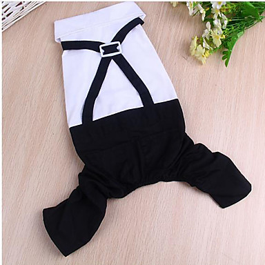 Koira Takit Koiran vaatteet Yhtenäinen Mustavalkoinen Kangas Asu Lemmikit Kesä Naisten Rento / arki