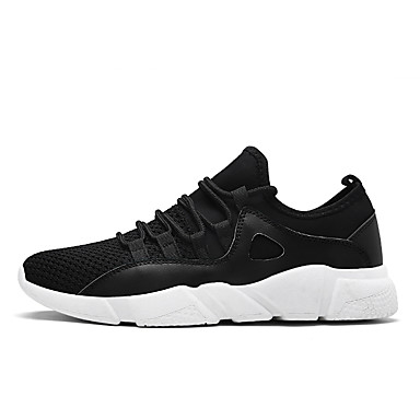 Men's Shoes Net Summer Fall Comfort Light Soles Sneakers Lace-up For Casual Black Black/White